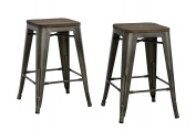 DHP Fusion Metal Backless Counter Stool with Wood Seat, Set of two, 60cm , Copper