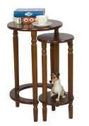 Round Wood End Table Set of 2 for Small Spaces Coffee Accent Nesting Tables