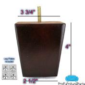 ProFurnitureParts 10cm Inch Dark Cherry Finish Square Tapered Wood Sofa Legs W/ Leg Plates
