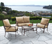 PHI VILLA Patio 4 PC Padded Conversation Set Coffee Table Sets Cushioned Outdoor Furniture, Beige