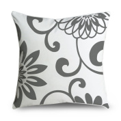 FabricMCC Damask Grey and White Cotton Canvas Decorative Throw Pillow Case Cover for Sofa or Living Room, 46cm x 46cm
