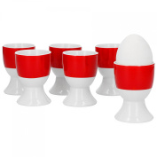 Van Well Set of 6 Egg Holders Series Vario Porcelain – Choice of Colours red