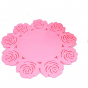 Bodhi2000 Rose Pattern Hollow Silicone Insulation Placemat Coaster Cup Bowl Mat Home Decor,20cm