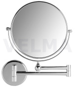 VELMA - AE802 3x - Premium two-sided cosmetic mirror / magnifying mirror / men's shaving mirror / make-up mirror - 3x magnification + normal size - can be turned in all directions - high-gloss chromed brass - no plastic - can be folded back to the wall ..