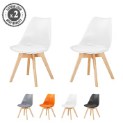 Set of 2 Stylish DELUXE Dining Chairs with Wooden Legs & Soft Cushion Pad Retro Lounge Dining Office ,EVA by MCC