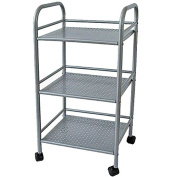 Bakaji Grey Silver Storage Cart Trolley For Kitchen/Bathroom Or Hairdressing Salon Swivel Wheels, 3 4 Shelves, 32 x 41 x 75 cm
