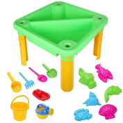 Kids Sand & Water Play Table Set with 13 Accessories