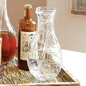 European Art Glass Web Bar Martini Pitcher | Glass Spoon Mixing Serving Modern