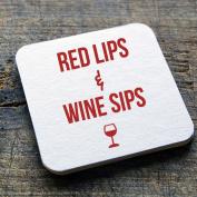 "dRINK. Barware ""Red Lips & Wine Sips"" 100 10cm Round Heavyweight Blank White Paper Pulpboard Coasters"