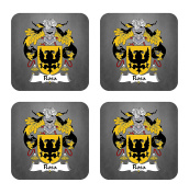 Rosa Coat of Arms / Family Crest Coaster Set, by Carpe Diem Designs – Made in the U.S.A.