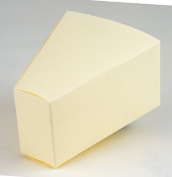 10 IVORY SILK CAKE SLICE BOX - 90 X 73 X 50MM FROM CLUB GREEN