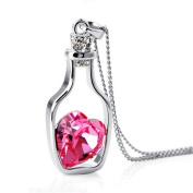 FENGLANG Women Heart Crystal Rhinestone Silver Chain Pendant Necklace Jewellery