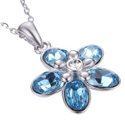 Atmospheric Elegant Blue Crystal Rhinestone Blossom Flower Pendant Necklace Silver Chain Luxury Necklace
