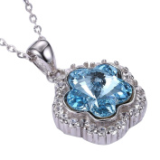 Beautiful Flower Luxury Crystal Pendant Necklace Eco-Friendly White Gold Plated Ocean Blue Necklace