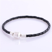 COOLTASTE European Fashion DIY Black Leather 100% 925 Silver Clasp Jewellery for Woman