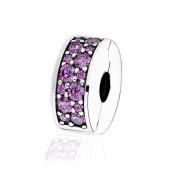 COOLTASTE European Fashion Shining Elegance Clip with Purple CZ DIY Fits for Pandora Bracelets 925 Silver DIY Making Jewellery