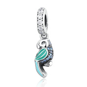 COOLTASTE 2016 Summer Authentic 925 Sterling Silver Green Tropical Parrot Mixed Enamels Teal & Clear CZ DIY Fits for Pandora Bracelets Jewellery Making