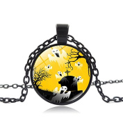 Upxiang Vintage Happy Halloween Glass Pendant Necklace Chain