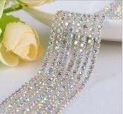 Zhichengbosi 10 Yard Crystal Rhinestone Close Chain Trim Sewing Craft 2.5mm Silver colour