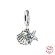 MOCCI 2017 Summer Collection Blue Tropical Starfish and Seashell Pendant DIY Fit for Pandora Bracelets Authentic 925 Sterling Silver Making Jewellery