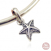 MOCCI 2017 Summer New Blue Tropical Starfish Pendant Authenitc 925 Sterling Silver DIY Fits for Pandora Bracelets Jewellery
