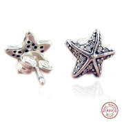 MOCCI 2017 New Summer Blue Ocean Life Starfish Stud Earrings Authentic 925 Silver Women Jewellery