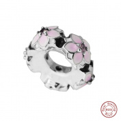 MOCCI 2017 Spring Collection Magnolia Bloom Spacer Authentic 925 Sterling Silver DIY Fits for Pandora Original Bracelets Jewellery