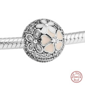 MOCCI 2017 Spring Collection Authentic 925 Sterling Silver Poetic Bloom Clear CZ Clip Ftis for Pandora Bracelets DIY Jewelery