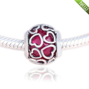 PANDOCCI 2017 Valentine's Day Fits for Original Bracelets 925 Sterling Silver Cerise Encased In Love Cerise Crystal Charms Bead DIY Jewellery Making
