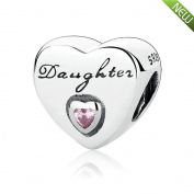 PANDOCCI 2016 Christmas Daughter's Love, Pink CZ Beads DIY Fits Pandora Bracelets Authenitc 925 Sterling Silver Charm Jewellery