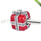 PANDOCCI 2016 Christmas Gift Sparkling Red Enamel & Clear CZ Fits Pandora Bracelets New Authentic 925 Silver Charms DIY Making Jewellery