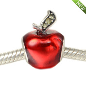 PANDOCCI 2016 Christmas Snow White Apple With Red Enamel Fits Pandora Bracelets Authentic 925 Sterling Sivler Beads DIY Jewellery