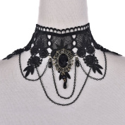 SevenMye 1 PCS Punk Style Wedding Party Black Lace Choker Beads Tassels Chain Pendant Necklace for Women