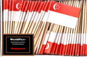 One Box Singapore Toothpick Flags, 100 Small Singaporean Cupcake Flag Toothpicks or Cocktail Picks