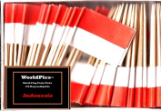 One Box Indonesia Toothpick Flags, 100 Small Indonesian Cupcake Flag Toothpicks or Cocktail Picks