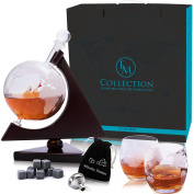 Whiskey Globe Decanter Set w/ Triangular Wooden Stand, cooling stones, glasses, Bar Funnel & Cork