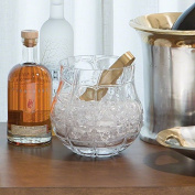 Elegant Sculpted Glass Web Pattern Ice Bucket | Clear Open Wine Chiller Round