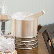 Rustic Round Modern Art Silver Ice Bucket | Wine Chiller Nickel Metal Removeable
