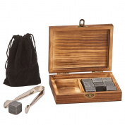 Whiskey Stones Set with Tongs in Wood Gift Box
