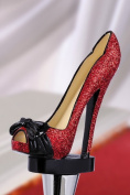 Red Glitter Stiletto Shoe with Peep Toe Wine Bottle Stopper