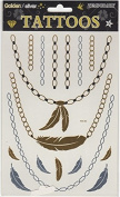 Temporary Gold/Silver Sticker Tattoos, Feathers and Chains Design