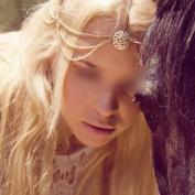 HuntGold 1X Bohemia Women Headband Gold Layers Tassel Hollow Wafer Hair Chain Head Cuff
