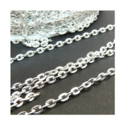 2Meters Silver Coloured Chain Oval Necklace ~3x2mm