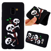 TPU Case for Samsung Galaxy A8 Plus (Not for A8) 2018, Flexible Rubber Case Cover for Samsung Galaxy A8 Plus 2018, ZCRO Silicone Soft TPU Durable Gel Ultra Slim Thin Bumper Case with Cute Lovely Cartoon Animal Black White Pandas 3D Interesting Creative ..