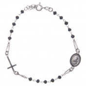 Rosary bracelet Padre Pio black with black zircons in 925 sterling silver