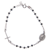 Rosary bracelet with Padre Pio 925 sterling silver with white zircons