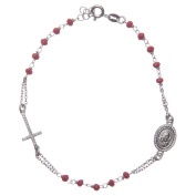 Rosary bracelet with Padre Pio in 925 sterling silver red with white zircons
