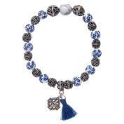Bracelet with painted ceramic grains and Jerusalem cross