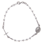 Rosary bracelet with Padre Pio in 925 sterling silver with white zircons