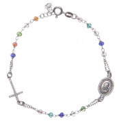 Rosary bracelet Padre Pio multicoloured with white zircons in 925 sterling silver
